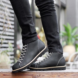 PU Plain Toe Lace-Up Martin Boots