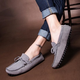 Solid Color Suede Lace-Up Driving Shoes