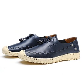 British Thread Round Toe Lace-Up Casual Shoes