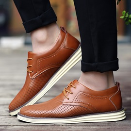 PU Hollow Lace-Up Casual Shoes