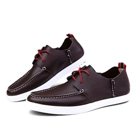 Trendy PU Thread Lace-Up Casual Shoes
