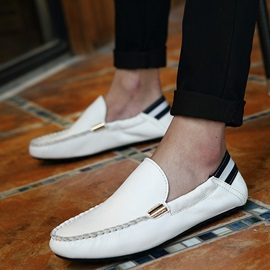 Striped PU Thread Loafers