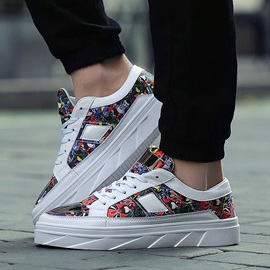 Breathable Printed Lace-Up Skater Shoes