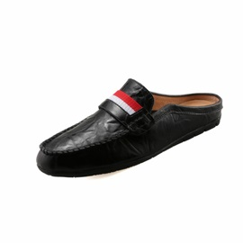 Breathable Striped PU Slip-On Loafers