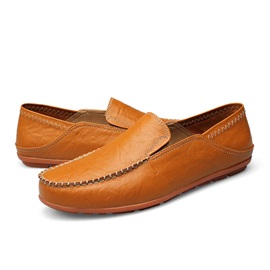 Solid Color PU Thread Men's Loafers