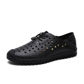 PU Thread Lace-Up Driving Shoes