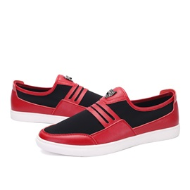 Color Block PU Slip-On Skater Shoes