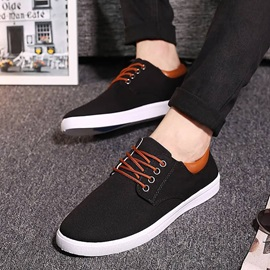 Solid Color Round Toe Lace-Up Skater Shoes