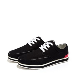 Color Block Round Toe Lace-Up Canvas Shoes