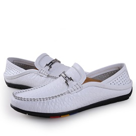 Embossed PU Slip-On Driving Shoes for Men