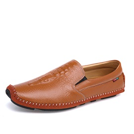 Embossed PU Thread Slip-On Loafers