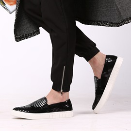 Elegant Sequins Round Toe Slip-On Loafers
