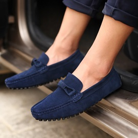 Solid Color Suede Loafers