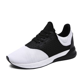 Breathable Mesh Round Toe Lace-Up Sport Shoes