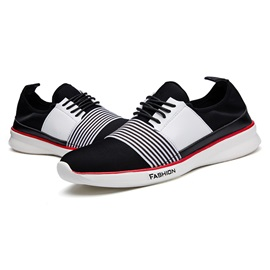 Striped Round Toe Lace-Up Sneakers