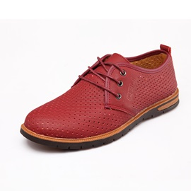 PU Hollow Round Toe Tie Up Casual Shoes
