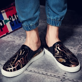 Printed PU Slip-On Loafers for Men