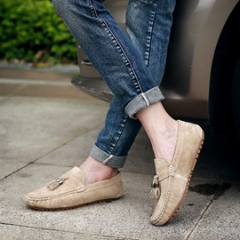 Suede Thread Slip-On Driving Shoes for Men
