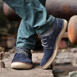 British Style Suede Lace-Up Casual Shoes