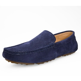 Solid Color Slip-On Suede Driving Shoes