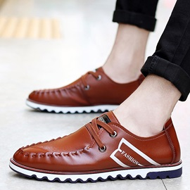 PU Pleated Lace-Up Casual Shoes