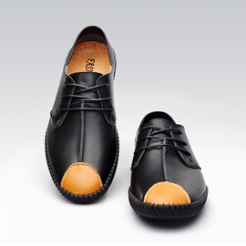 British PU Thead Lace-Up Driving Shoes
