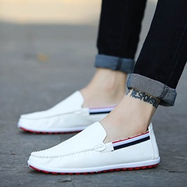 Striped PU Slip-On Men's Driving Shoes