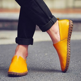 Solid Color PU Thread Loafers