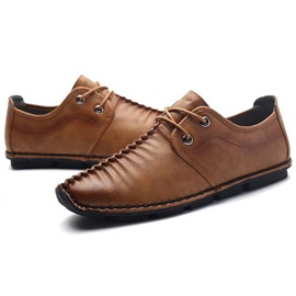 Pleated PU Lace-Up Men's Casual Shoes