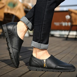 PU Pleated Zippered Casual Shoes