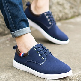 Solid Color Round Toe Canvas Skater Shoes