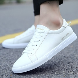 Solid Color Round Toe Lace-Up Skater Shoes for Men