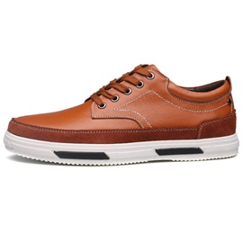 PU Thread Lace-Up Skater Shoes for Men