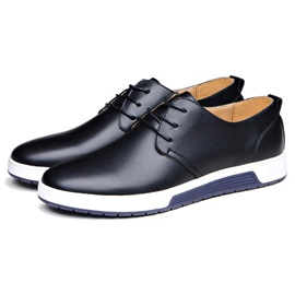 Solid Color PU Plain Toe Lace-Up Skater Shoes