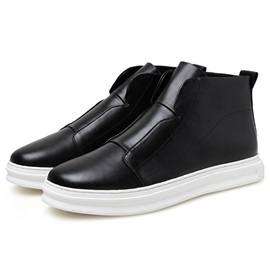 Solid Color PU Mid-Cut Men's Casual Shoes