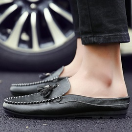 PU Round-Toe Low-Cut Upper Slip-On Casual