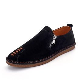 Nubuck Leather Zipper Round-Toe Casual