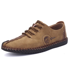 Nubuck Leather Plain Lace-Up Thread Men's Shoes