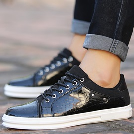 Embossed Leather Patchwork Lace-Up Men's Shoes