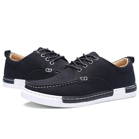 Simple PU Lace-Up Men's Casual Shoes