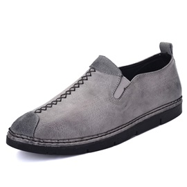 PU Plain Slip-On Round Toe Men' Sneakers