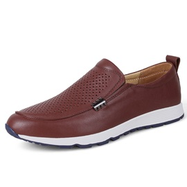 Leather Pain Hollow Men's Slip-On Shoes