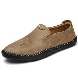 PU Plain Slip-On Thread Round Toe Men's Shoes