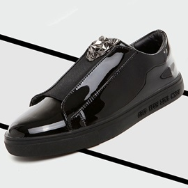 Patent Leather Plain Slip-On Men's Black Shoes