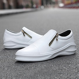 PU Slip-On Zipper Plain Sneaker for Men