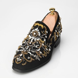 Faux Suede Rhinestone Sequin Slip-On Men's Shoes