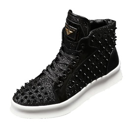 PU Rivets Sequin Lace-Up Men's Shoes
