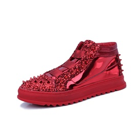PU Sequin Patchwork Slip-On Men's Shoes