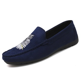 Faux Suede Embroidery Animal Slip-On Men's Shoes