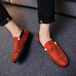 Floral Low-Cut Upper Slip-On Men's Loafers